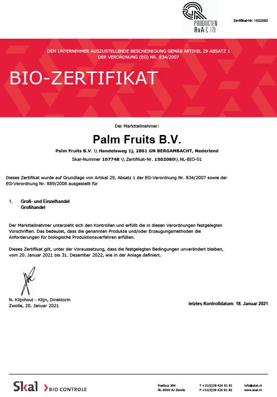 Organic Zertifikat 2020